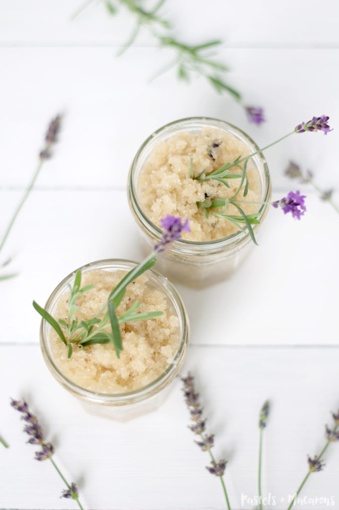 DIY Lavender Body Scrub by Pastels & Macarons. Makes a beautiful homemade body product and also a lovely homemade gift. #DIY #diy #diylavenderbodyscrub #iybeautyproducts #homemade #homemadebeautyproducts #homemadescrub #homemadebodyscrub #homemadelavenderscrub #lavender #essentialoils