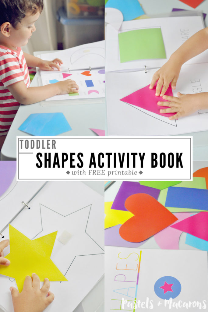 Free printable Toddler Shapes Activity Book! This book is great for toddlers or children in kindergarten or preschool. The perfect way to keep your kids busy and learning shapes and colors with ease!