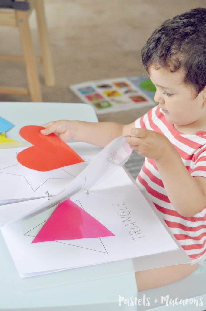 Toddler Shapes Activity Book with FREE printable by Pastels & Macrons.