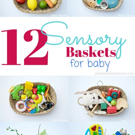 12 Sensory Baskets For Baby by Pastels & Macarons. Allow baby to explore with these fun filled baskets. #baby #sensoryplay #babyplay #activitiesforbaby #babyactivities #sensorybasket #discoverybasket #discoverybasketideas #sensoryplayideas