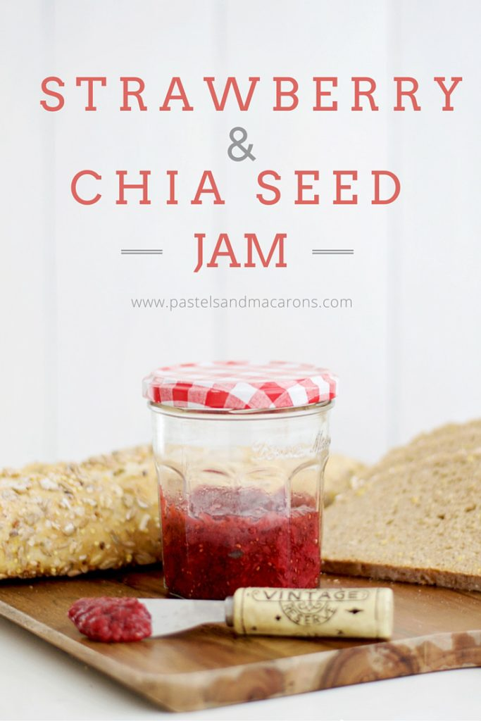 Strawberry And Chia Seed Jam by Pastels & Macarons. Delicious, low calorie, low sugar recipe. #food #recipes #healthy #jam #jamrecipe #strawberryandchiaseedjam #chiaseed