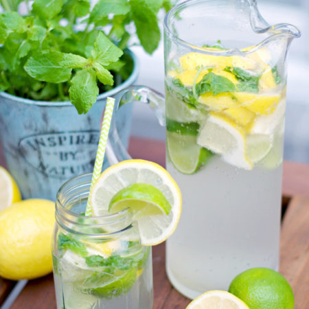 Delicious homemade Lemon Lime And Mint Lemonade Recipe in mason jars