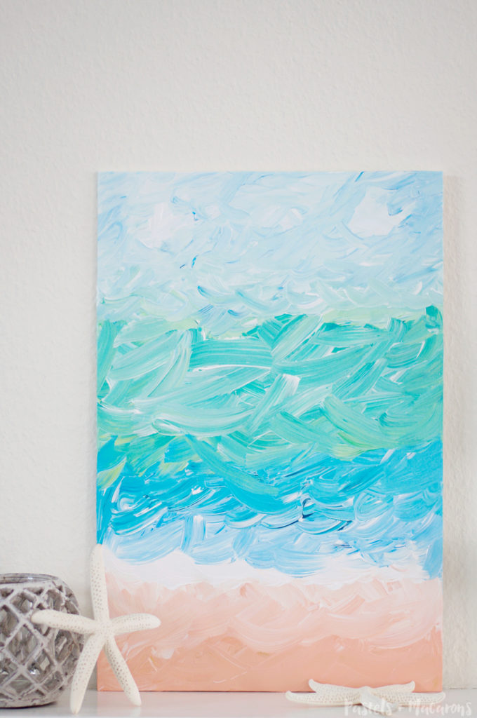 DIY Abstract Ocean Painting by Pastels & Macarons. Learn how to easily recreate this painting without any art skill! #art #DIY #painting #diyabstractpainting #howtopaint #acrylicpaintingtutorial #paintingtutorial