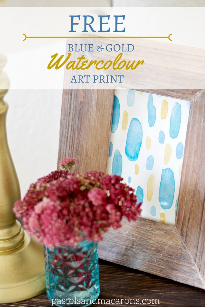 FREE PRINTABLE Blue And Gold Watercolour Art Print by pastels & Macarons. #watercolourillustration #watercolourpainting #watercolour #watercolours #arbstract #dots #homedecor #free #freeprintable #artprint #freeartprint #wallart #freewallart
