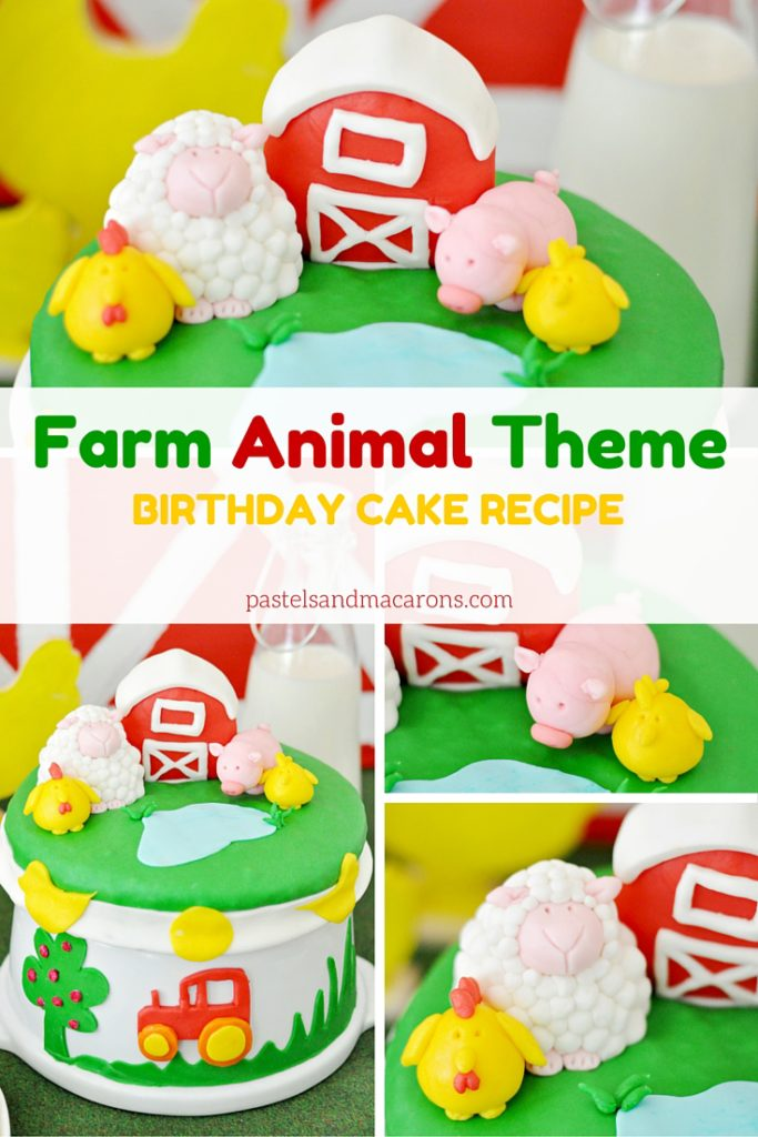 Farm Animal Theme Birthday Cake Recipe by Pastels & Macarons. #kidsbirthday #toddlers #baby #birthdayparty #cakerecipe #recipe #baking #farmanimaltheme #animaltheme #kidsbirthdaypartyideas #kidsbirthdaycakes #birthdaycake