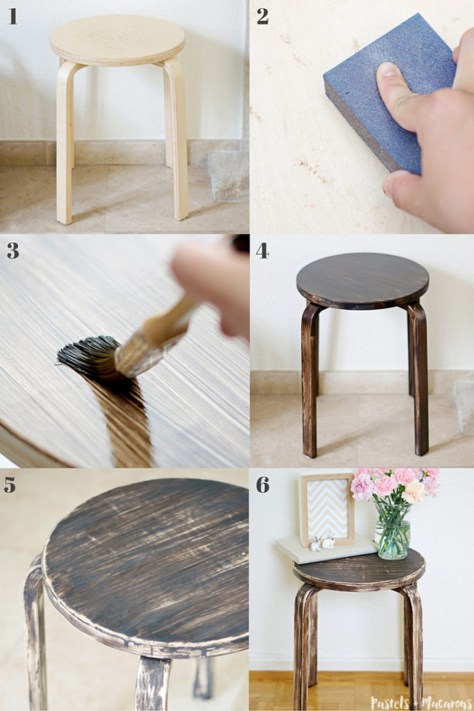 ikea frosta stool rustic makeover. Black Bedroom Furniture Sets. Home Design Ideas