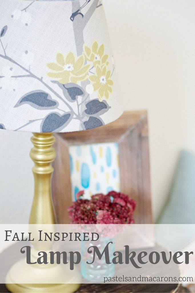 Fall Inspired Lamp Makeover by Pastels & Macarons. Easy to follow tutorial. #lampmakeover #guestbedroom #bedroomlamp #diylampshade #diylamp #lamp