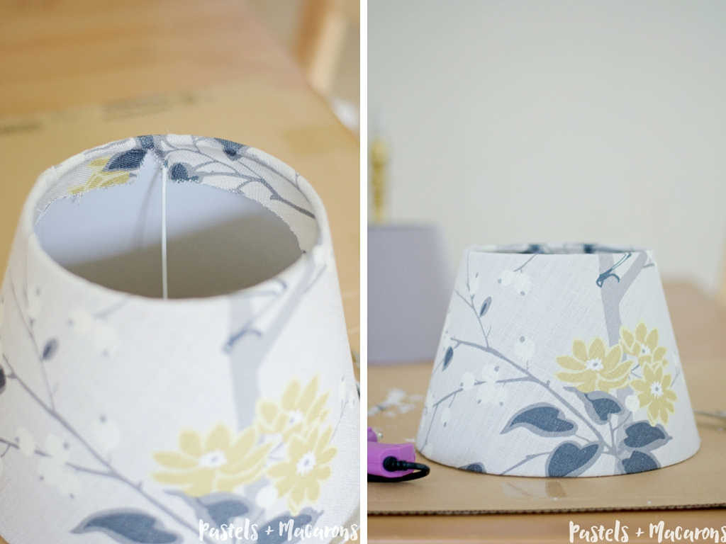 DIY Lamp Makeover by Pastels & Macarons. Easy to follow tutorial. #lampmakeover #guestbedroom #bedroomlamp #diylampshade #diylamp #lamp #fall #autumn #diylampmakeover #vignette #homedecor #countryhome