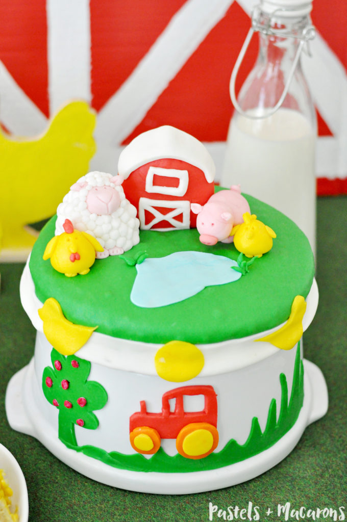 Farm Animal Theme Birthday Cake