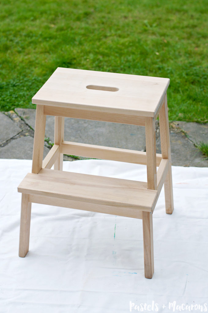 IKEA Step Stool Makeover by Pastels & Macarons. Easy to follow tutorial to convert a plain step stool into a fabulous feature in any room. #ikea#ikeastepstool #stepstool #stool #DIY #diy #makeover #ikeastepstoolmakeover #kitchen #home #homedecor #house