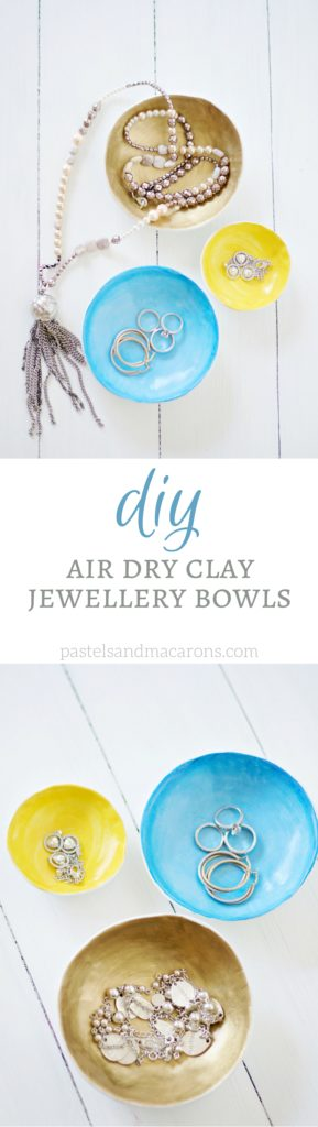 DIY Air Dry Clay Jewellery Bowls by Pastels & Macarons #diyairdryclayjewellerybowls #airdryclay #jewellery #jewellerybowl #jewellerybowls #thandmadejewellerybowls #thingstomakewithclay #thingstomakewithairdryclay #claycrafts #diy #craft