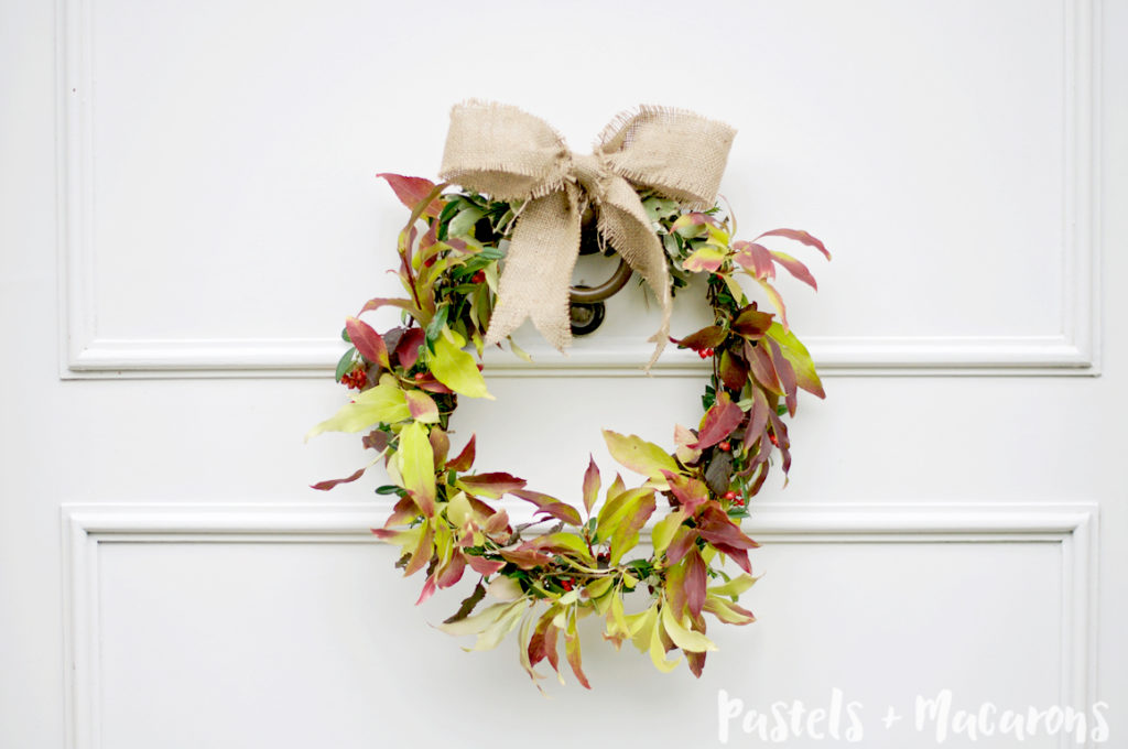 How To Make A Fresh Wreath For Free !! By Pastels & Macarons #wreath #diy #diywreath #howtomakeawreath #howtomakeawreathforfree #howtodecorateforfree #howtodecorateyourhomeforfree #frugaldecorating #frugalwreaths #frugalcraft #frugalliving #fall #fallwreath #freefallwreath #falldiy #fallcrafts #fallhomedecor #fallhomedecorating