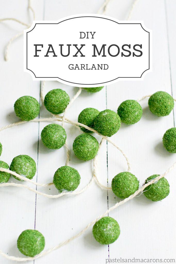 DIY Faux Moss Ball Garland #moss #diyfauxmossgarland #mossgarland #mosscrafts #mossmonogram #mossdecorations #diygarland #garlandcraft #howtomakeamossgarland #howtomakeagarland #diymossgarland