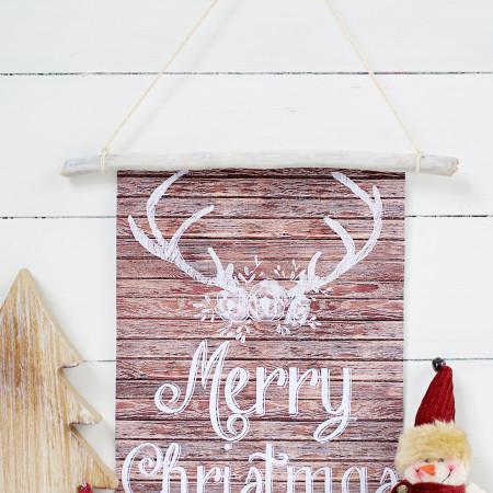 Rustic Wood Wall Hanging with Free Christmas Printable