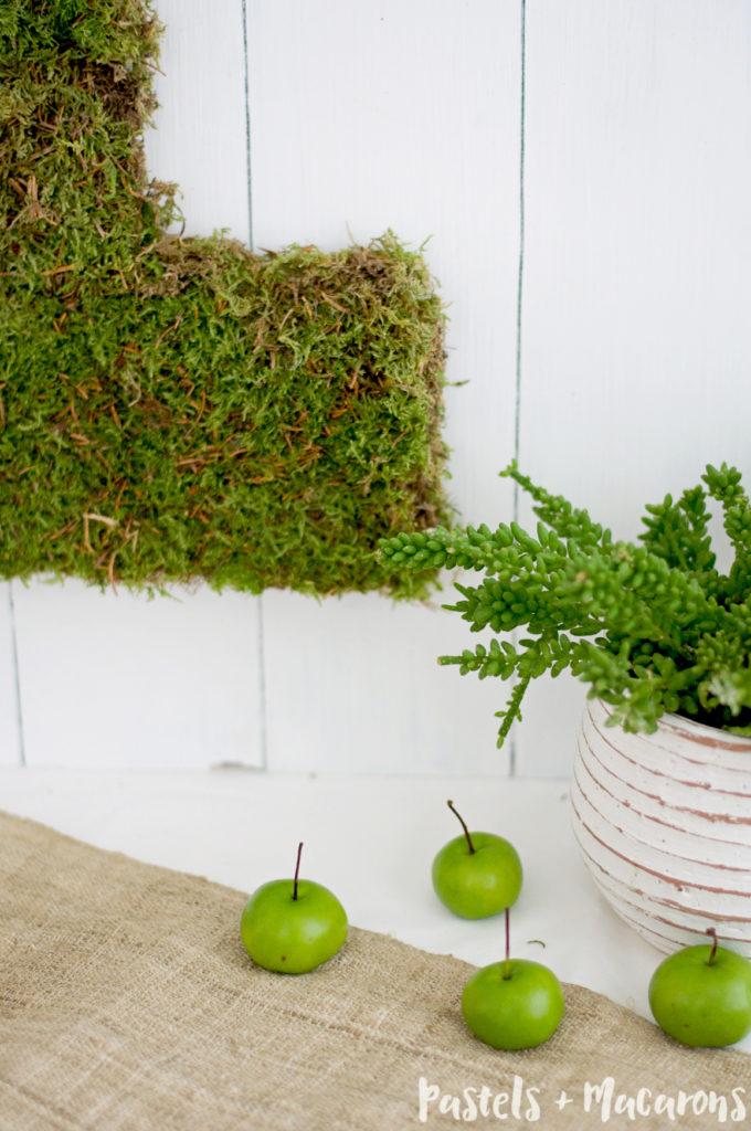 Moss Covered Number By Pastels & Macarons #mosscoverednumber #diy #diymossmonogram #mosscrafts #mosscraft