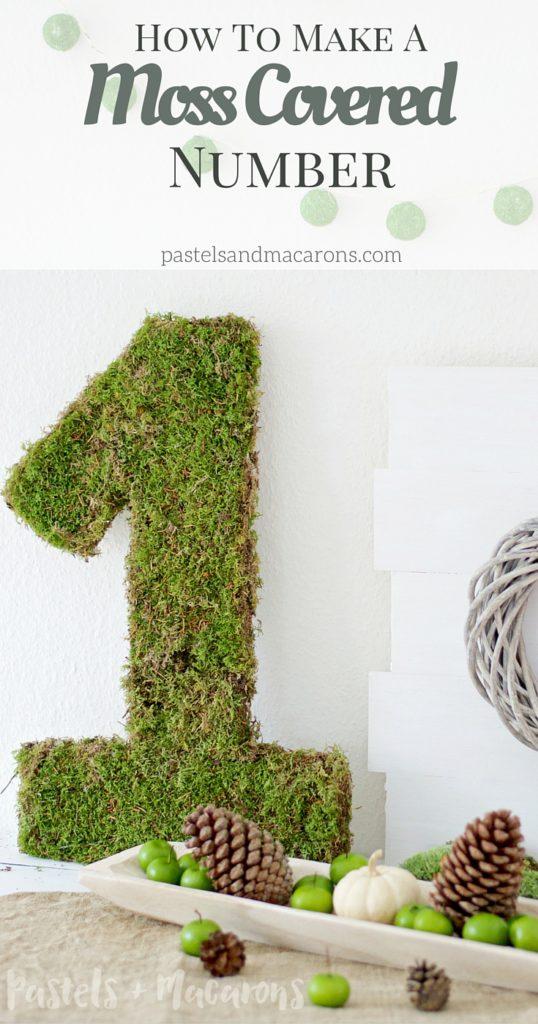 Moss Covered Number By Pastels & Macarons #mosscoverednumber #diy #diymossmonogram #mosscrafts #mosscraft #tutorial #howtomakeamosscoverednumber