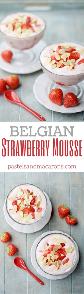 Belgian Strawberry Mousse by Pastels & Macarons #belgianstrawberrymousse #mousserecipe #straberrymousse #strawberrymousserecipe #deserts #easydesert