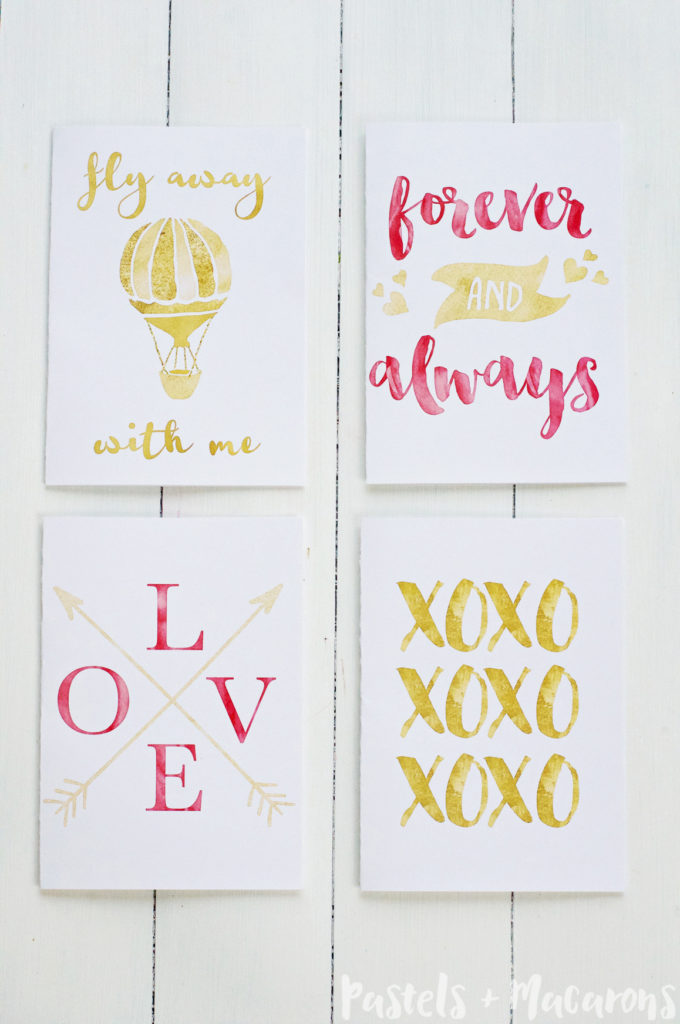 graphic regarding Valentines Cards Printable called Free of charge Printable Gold Foil Valentine Playing cards