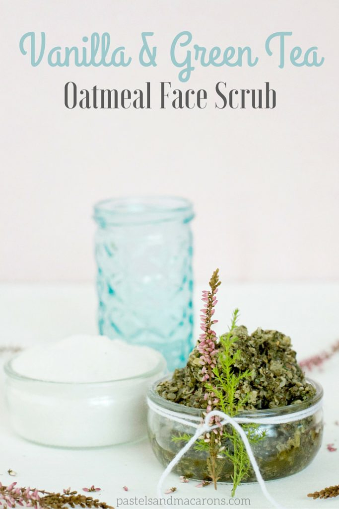 Vanilla And Green Tea Oatmeal Face Scrub. Beautiful, healing, calming, antioxidant face scrub that leaves your skin silky soft and hydrated. A simple DIY and a beautiful and thoughtful gift. I love using it on my face, it smells and feels so good!