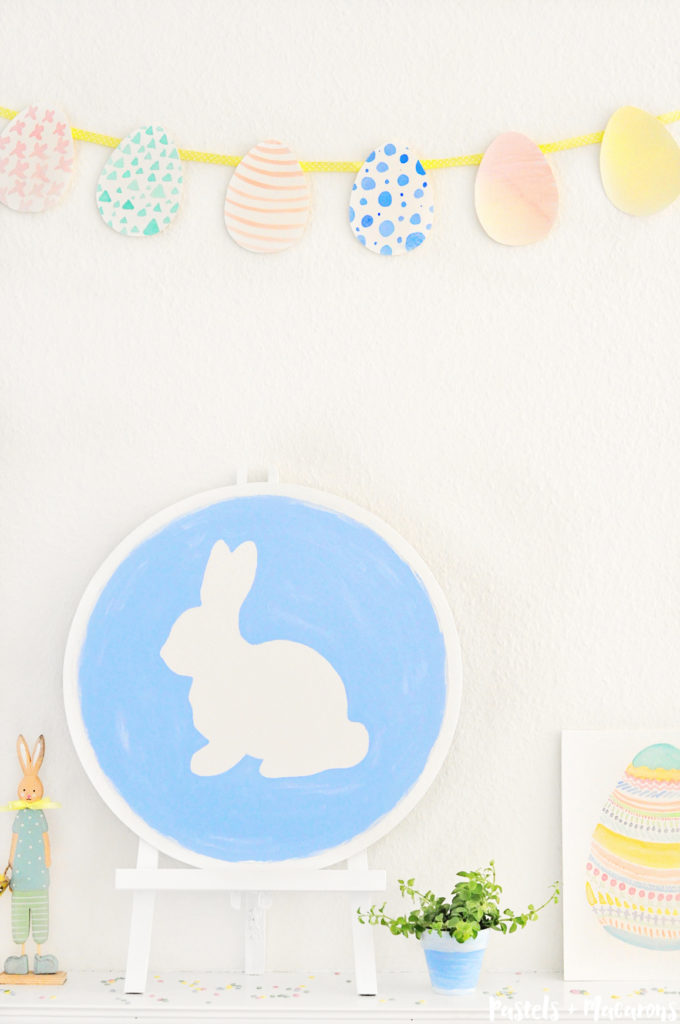 This Pretty Pastel Easter Mantel Vignette is so cute! Take a little tour on all of the beautiful Easter crafts included in this gorgeous vignette.