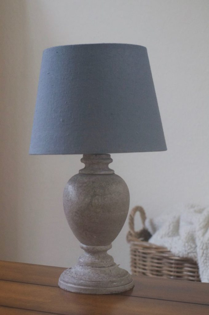 The before photo before I turned this simple lamp into a beautiful nautical lamp!