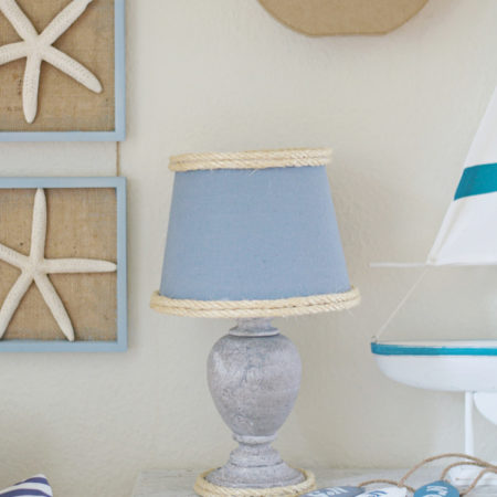 This is such a simple way to spice up a simple lamp and turn it into a beautiful Nautical Lamp for any room in your home!