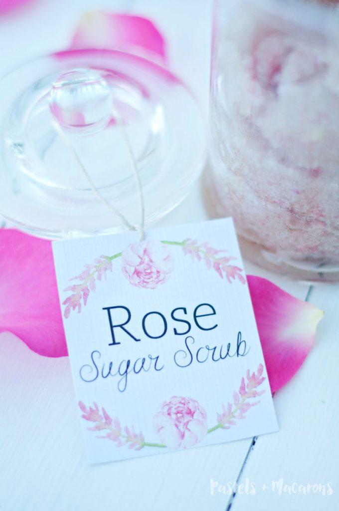 Rose Homemade Sugar Scrub Recipe with Free printable!
