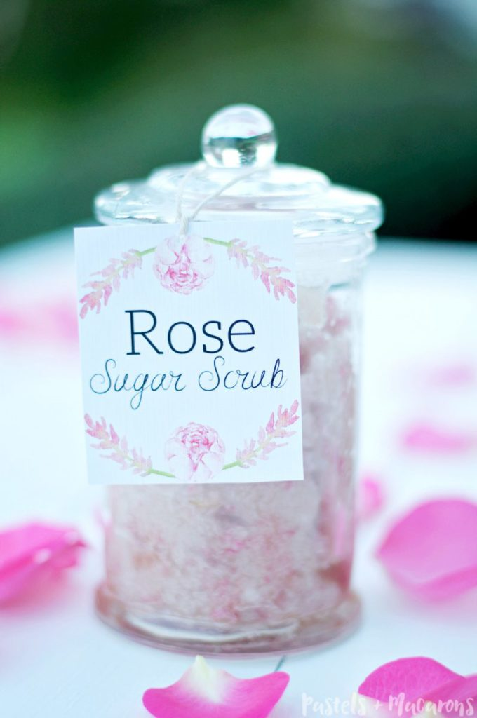Frugal skincare regine. Make this Rose Homemade Sugar Scrub for a fraction of the cost of store bought scrubs!