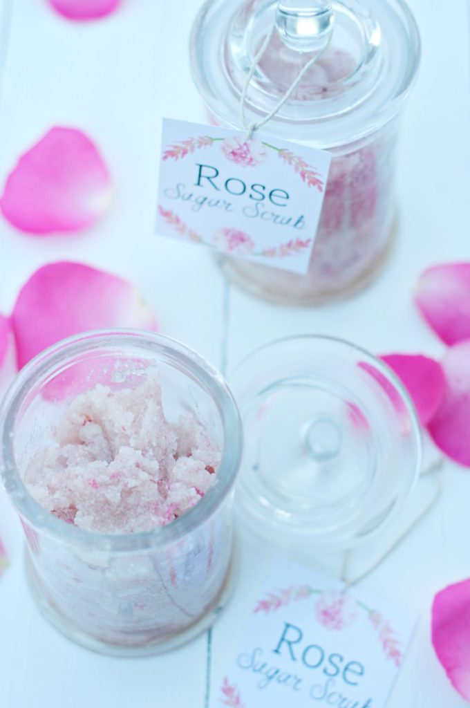 All natural Homemade Sugar Scrub made from roses and coconut oil.