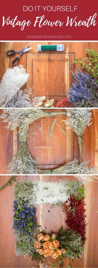 DIY Vintage Flower Wreath you can hang all year long.