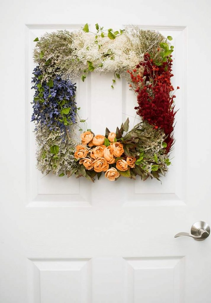 Gorgeous Vintage Flower Wreath Craft. Hang it on your door all year long