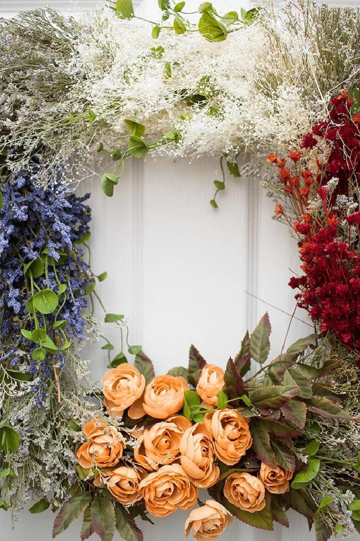 Handmade Lush Vintage Flower Wreath Craft for every Season