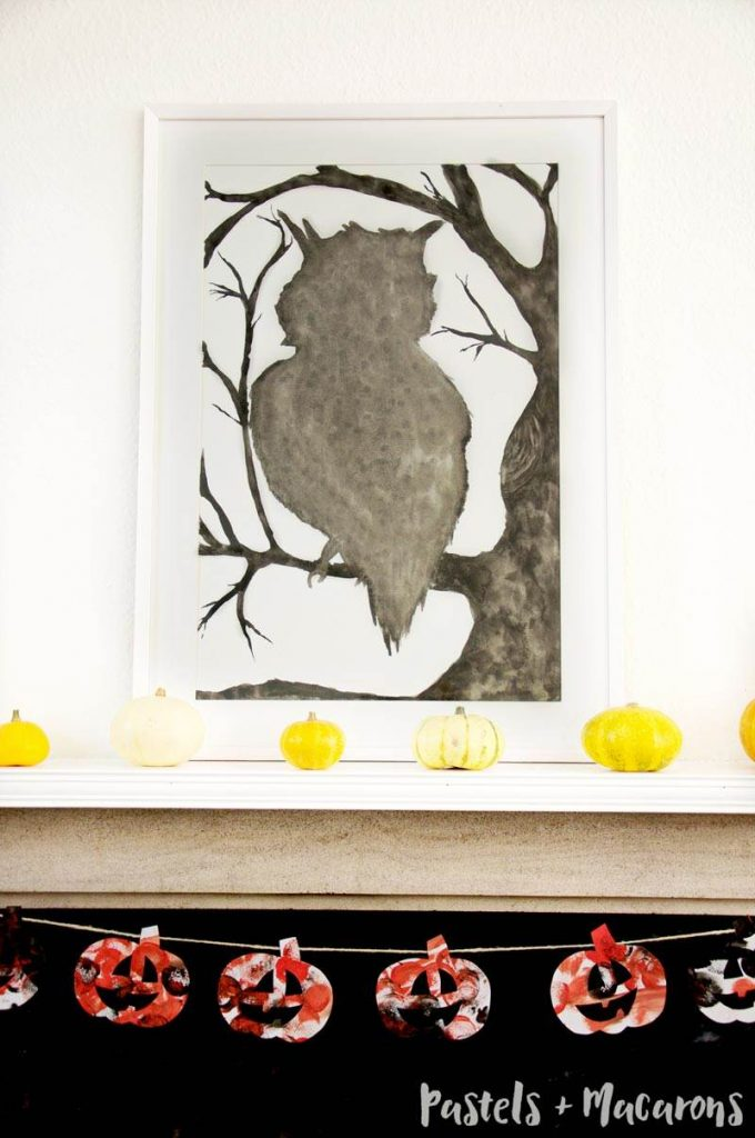 I hand painted this owl silhouette as part of my Halloween Mantel decor this year