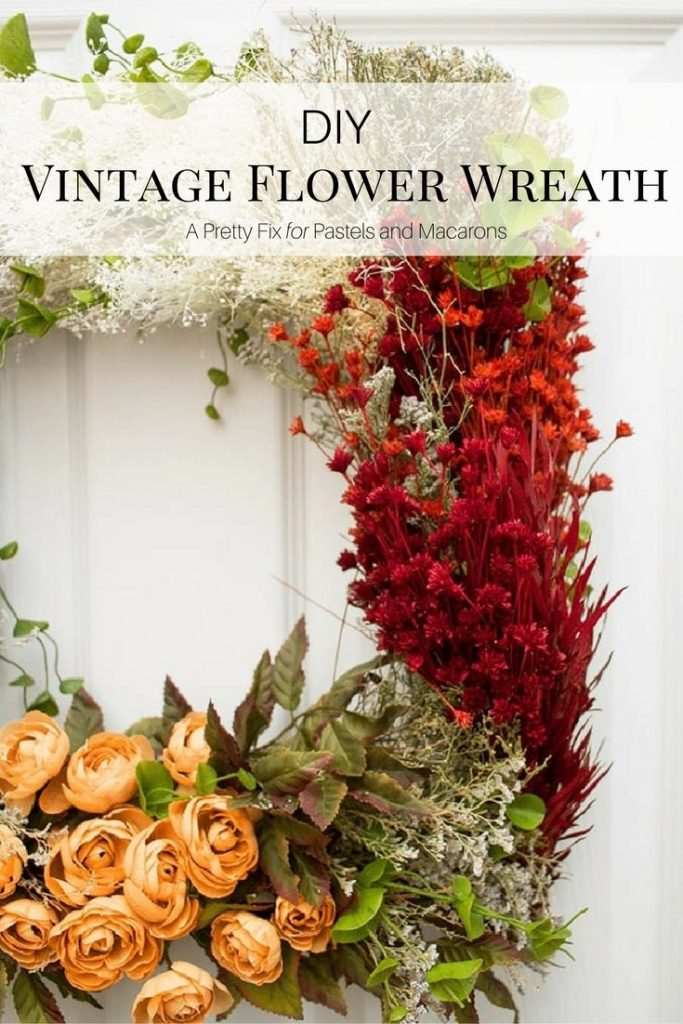 Vintage Flower Wreath craft made from dried and synthetic florals