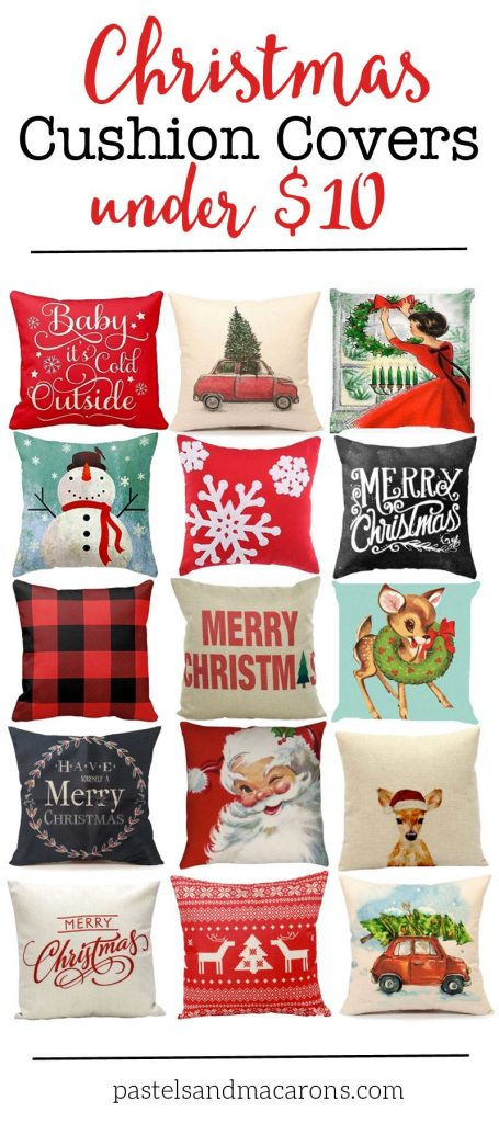 Affordable Christmas cushion covers for your holiday home decor. These are all beautiful throw pillows that can be found on Amazon.