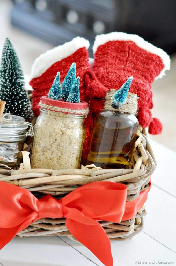 DIY Spa Gift Basket with Mason Jar Scrub