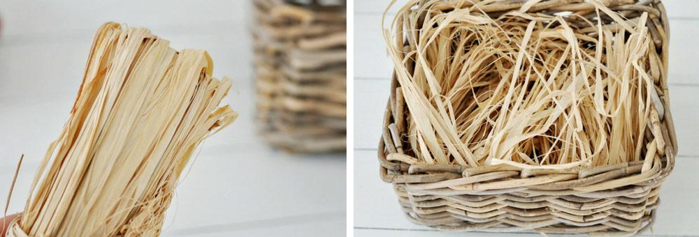 Raffia for the DIY Spa Gift Basket