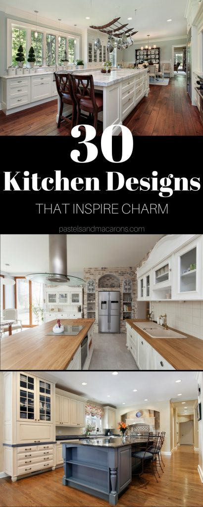30 Kitchen Design Ideas That Inspire Charm. Have a look at these beautiful kitchen design layouts and decorating styles. Beautiful, traditional, country, cottage, farmhouse and industrial are among the designs.