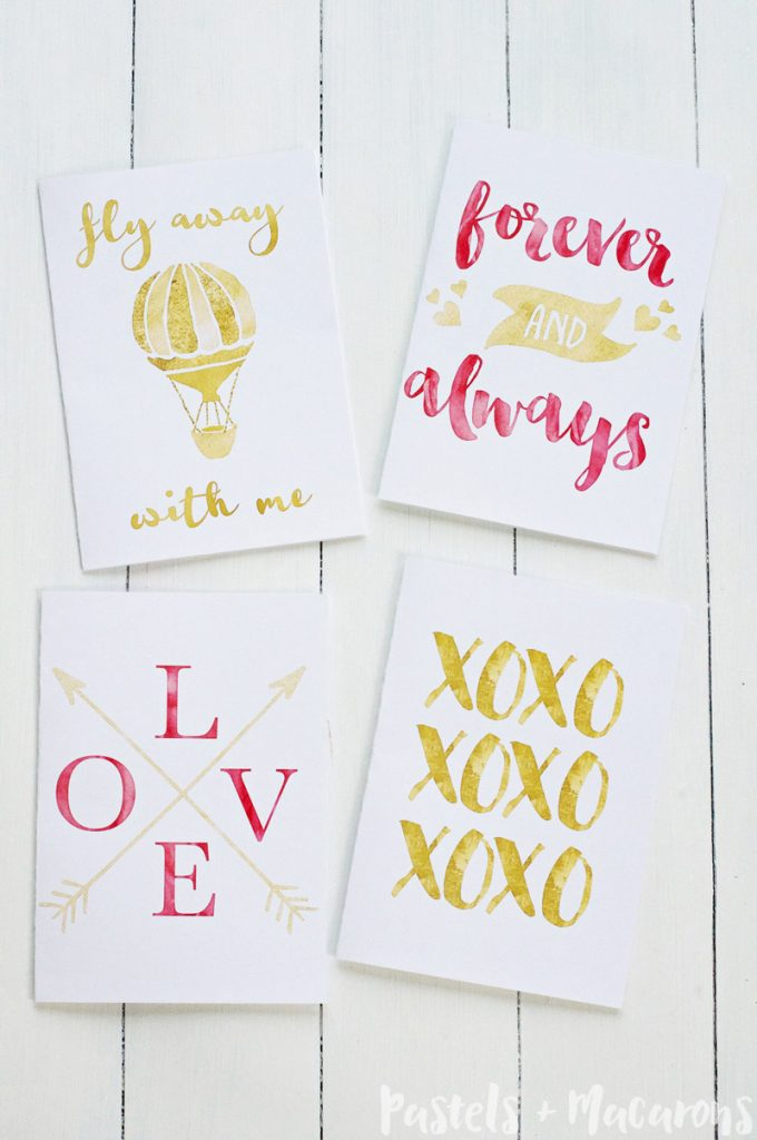 Download these Free Gold Foil Printable Valentines Day Cards for the love of your life.