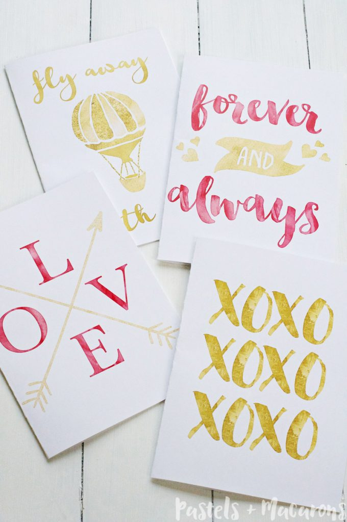 Free printable gold foil Valentines Day cards