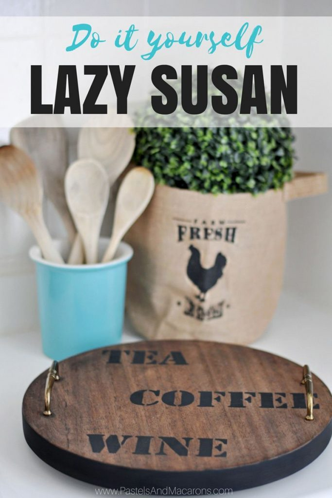 Easy to make DIY Lazy Susan turnable for the kitchen. This is a great upcycle. From old stool to an industrial, rustic, farmhouse Lazy Susan. Learn how to make it by clicking on the image!