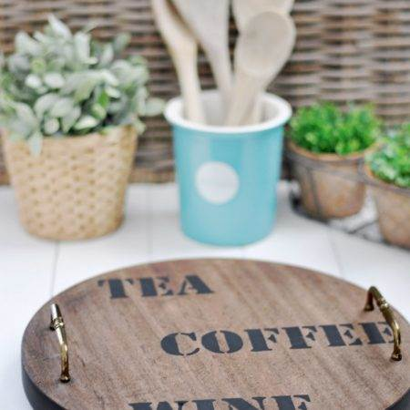 Easy to make industrial farmhouse style DIY Lazy Susan turnable upcycle project. Get the how to tutorial here.