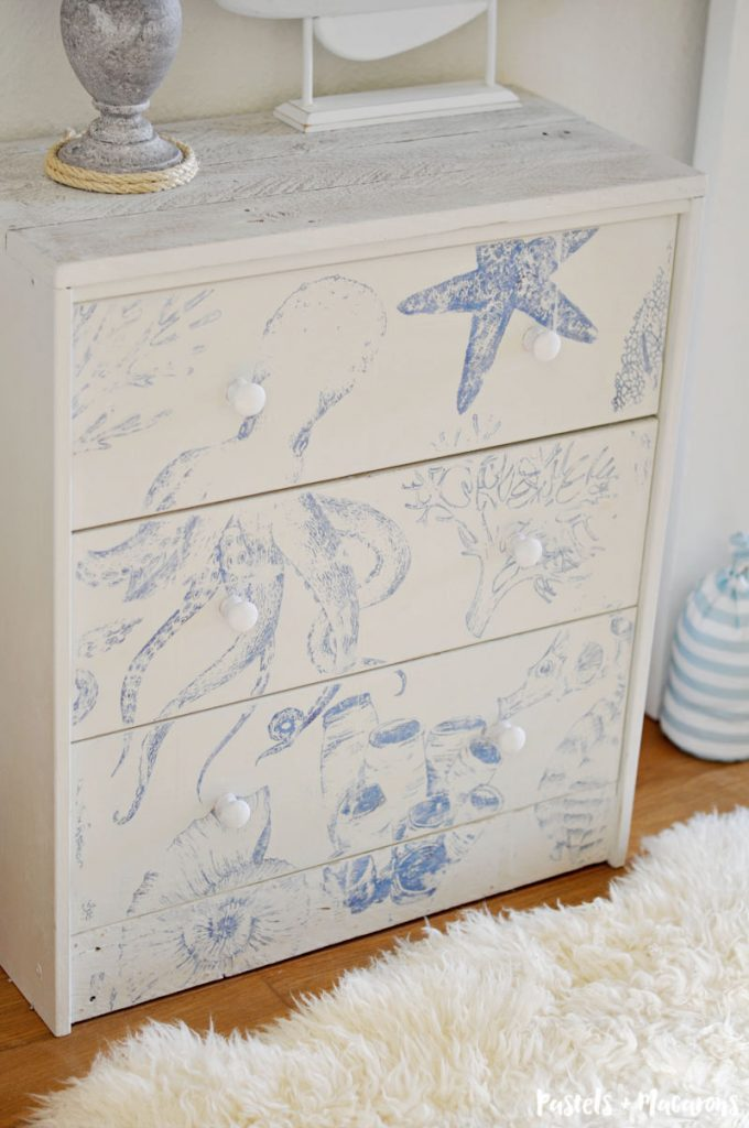 Coastal Style Ikea Rast Hack nightstand / dresser. An easy furniture home for any beach decor