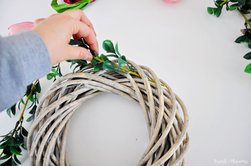 DIY flower Spring Wreath craft