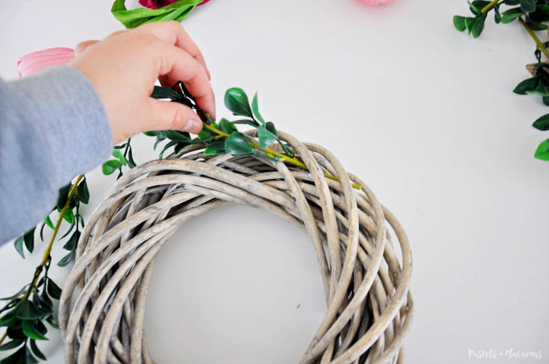 DIY flower Spring Wreath craft