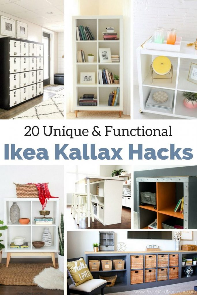 20 of the best Ikea Kallax Hacks and the different ways you can DIY them for your home. Find ideas for every room. Hack them for your living room, kitchen, bedroom and kids rooms. Make tv stands, a cute bar, coffee station, bookcases, desk or turn it into a bench. These simple book shelves can be turned into fabulous bookcases and are so versatile. They provide fabulous storage for any space in your home while keeping it unique to your style. Go on!