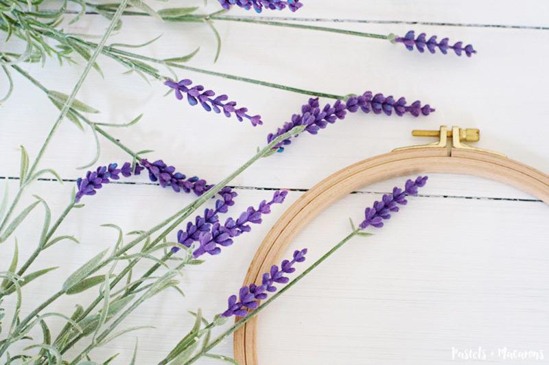 DIY embroidery hoop lavender wreath craft tutorial