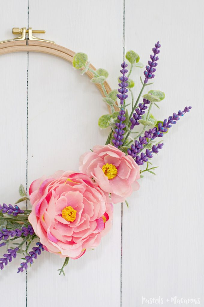 Learn how to make an embroidery hoop spring lavender wreath craft