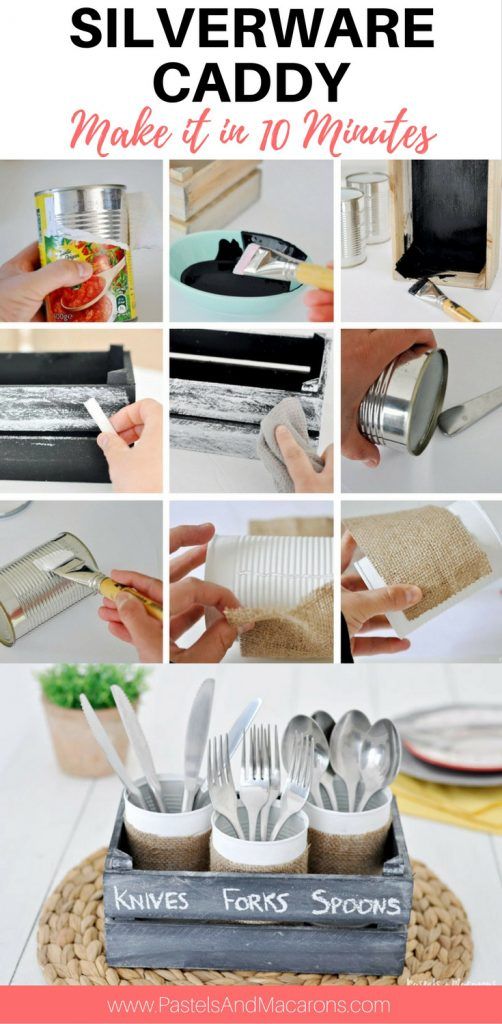 DIY silverware Caddy using upcycled tin cans and burlap fabric. It's a fabulous kitchen organization idea as well as perfect for outdoor and indoor entertaining. A fun farmhouse craft made with burlap made in minutes!