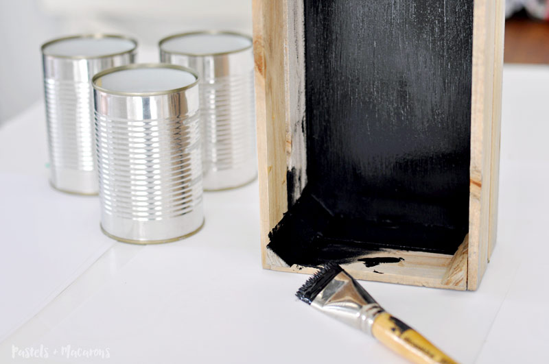 make a rustic, silverware caddy made from tin cans